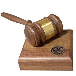 "10.25"" Solid Walnut Gavel with 4""D Sounding Block (Gavel and Sounding Block available separately)"