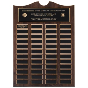 "14"" W x 20""H Walnut Perpetual Plaque 48 Black Brass Plates"