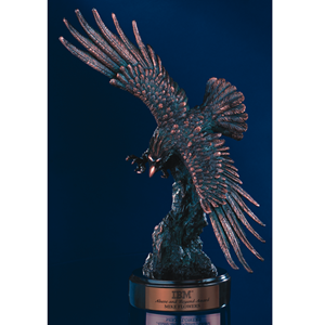 "17"" Bronze Finish Eagle w/ Spread Wings on Base"