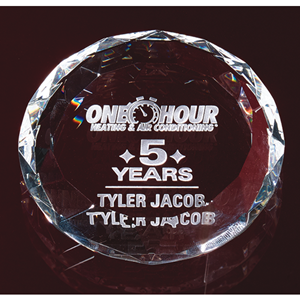 "3-1/8""D Optic Crystal Round Paperweight"