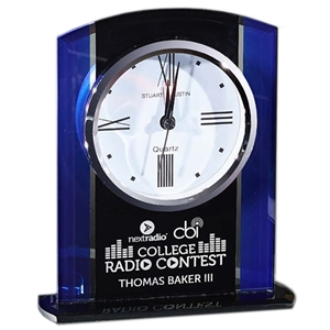 "5.25""X6.25"" Black and Blue Glass Clock"