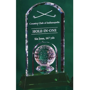 Arch Top Crystal with Golf Ball on Green Crystal Base (3 sizes)