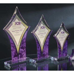 Colored/Clear Diamond Acrylic Trophy (3 sizes & 4 colors)