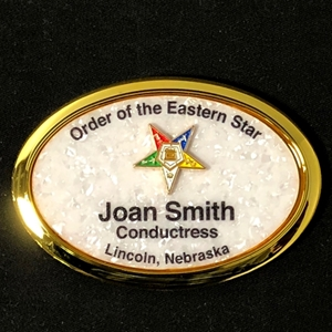 Mother of Pearl name badge with Eastern Star Emblem