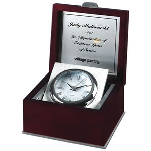 Rosewood Piano Finish Box Silver Clock